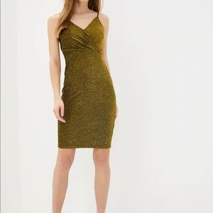 Glitter gold dress with straps